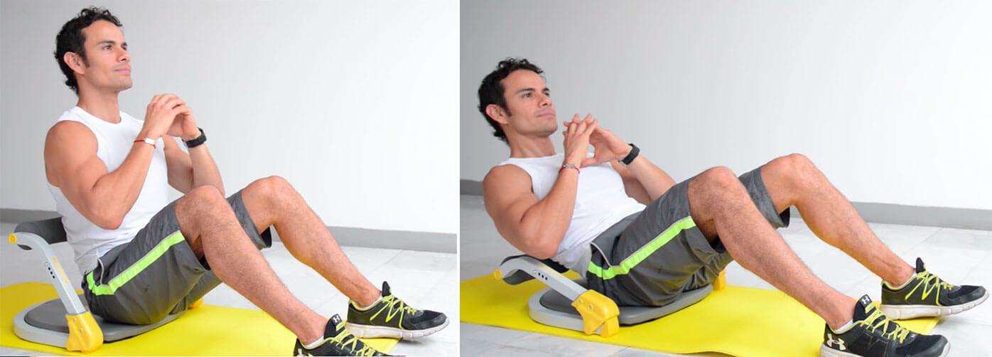 Daniel Cortés realizando abdominales en el aparato de ejercicio Ab Tomiv en el nivel 1 de resistencia.